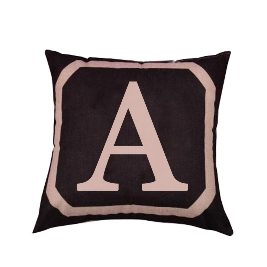 Alphabet Letter Print Linen Throw Pillow Case Waist Cushion Cover Bed Sofa Decor Jiacheng29