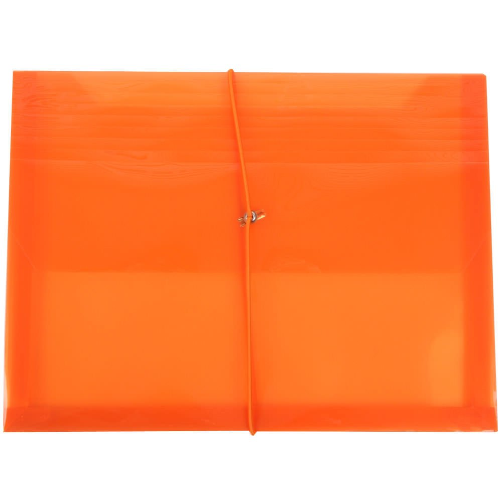 JAM PAPER Plastic Expansion Envelopes with Elastic Band Closure - Letter Booklet - 9 3/4 x 13 with 2.5 Inch Expansion - Orange - 12/Pack