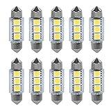 Cuque Universal LED Bombillas para luces interiores de automóviles 10 UNIDS 36 MM 12 V 3 SMD 5050 LED Adorno Cúpula Bombillas de luz interior Lámpara de coche