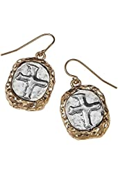 Two Tone Hammered Round Cross Drop Earrings