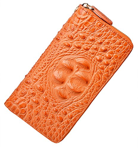 PIJUSHI Wristlet Wallet For Women Crocodile Leather Wallet Ladies Clutch Purse (8011 orange croco) (Embossed Orange Leather)