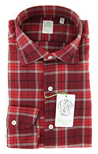 Finamore New Napoli Red Plaid Extra Slim Shirt (Napoli Red Shirt)