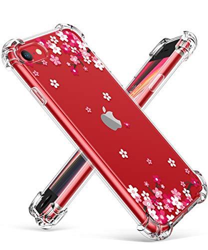 GVIEWIN Clear Flower iPhone SE 2020 Case/iPhone 8 Case/iPhone 7 Case, Soft TPU Silicone Ultra Slim Thin Transparent…
