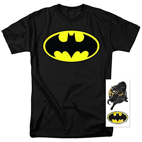 Batman Classic Logo T Shirt and Exclusive Stickers (Classic Logo Mens Tee)