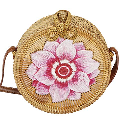 AllBombuu Printing Round Rattan Crossbody Bag,Straw Boho Bag for Women Purse Handmade Clutch Woven Shoulder Bag (Pink Lotus), 7 IN