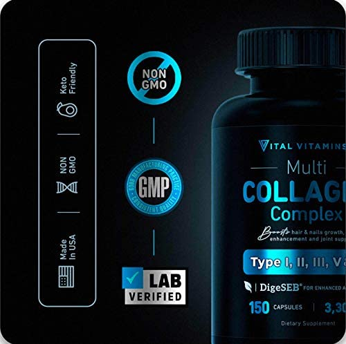 Multi Collagen Pills (Types I,II,III,V,X) 150 Capsules 3300 mg Grass Fed Collagen Peptides Enhanced Absorption for Anti-Aging, Hair Growth & Nails, Healthy Joints & Skin, Hydrolyzed Protein Supplement 4