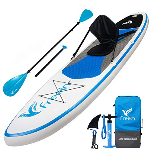"Freein All Round Stand Up Inflatable Paddleboard -10' Long, 31"" Wide, 6"" Thick - White/Blue Paddleboard with Kayak Conversion Kit, Floating Adj 2 in 1 Paddle, Backpack, Leash, Pump"