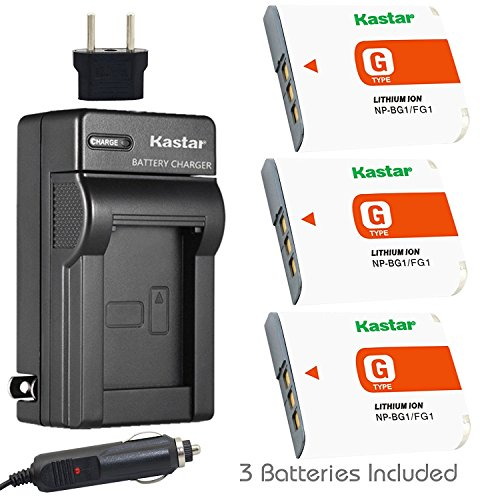 Kastar NP-BG1 Battery (3-Pack) and Charger Kit for Sony NP-FG1, BC-CSG and Sony Cyber-shot DSC-H50, Cyber-shot DSC-H10, Cyber-shot DSC-W120, Cyber-shot DSC-W170, Cyber-shot DSC-W300 Digital Cameras (Sony Camera Battery G Type)