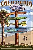 Laguna Beach, California - Destinations Sign (12x18 Art Print, Wall Decor Travel Poster)