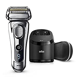 Braun Series 9 Men's Electric Foil Shaver with Wet & Dry Integrated Precision Trimmer & Rechargeable and Cordless Razor with Clean&Charge Station, 9296cc - 51CaxHWAwLL - Electric Razor for Men By Braun, Series 9 9296CC Electric Shaver With Precision Trimmer, Rechargeable, Wet & Dry Foil Shaver, Clean & Charge Station & Leather Travel Case