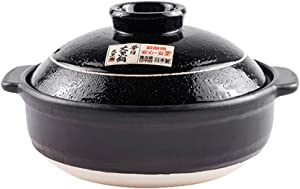 CCSU Japanese Donabe Stone Rice Pot Dolsot,Traditional Handmade Stockpot Ceramic Casserole with Lid Non-Stick Cookware Black 3.59quart