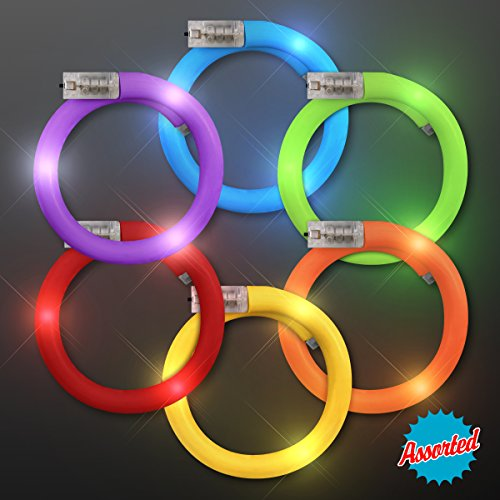 Assorted Fun Colors LED Flash Tube Bracelets (Set of 6)