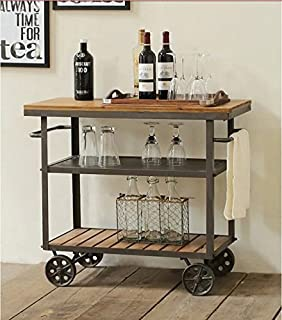 wgx indoor or outdoor metal wood rolling serving cart on wheels kicthen bar dining room tea - Dining Room Serving Carts