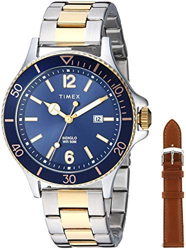 Timex Men's TWG019600 Harborside Two-Tone/Blue Stainless Steel Bracelet Watch Gift Set + Tan Genuine Leather ()
