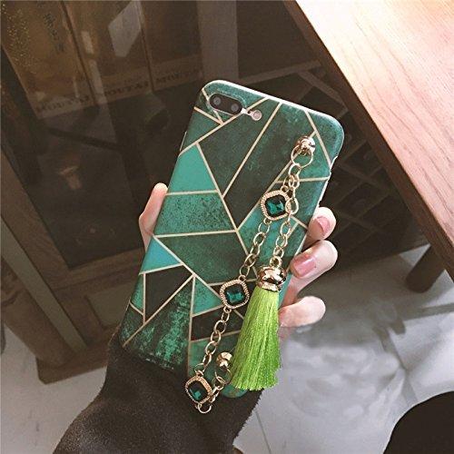 Hülle für iPhone 7 plus , Schutzhülle Für iPhone 7 Plus Geometrische Abbildung Voller Abdeckung Weiche schützende rückseitige Abdeckungs-Fall mit Diamant-Ketten-Quasten-Anhänger ,hülle für iPhone 7 pl