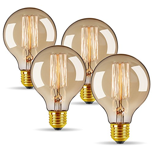 (Vintage Edison Bulbs 40W/110V E26 E27 Base Dimmable Incandescent Bulb for Home Decoration (4 Pack) (Round Antique))