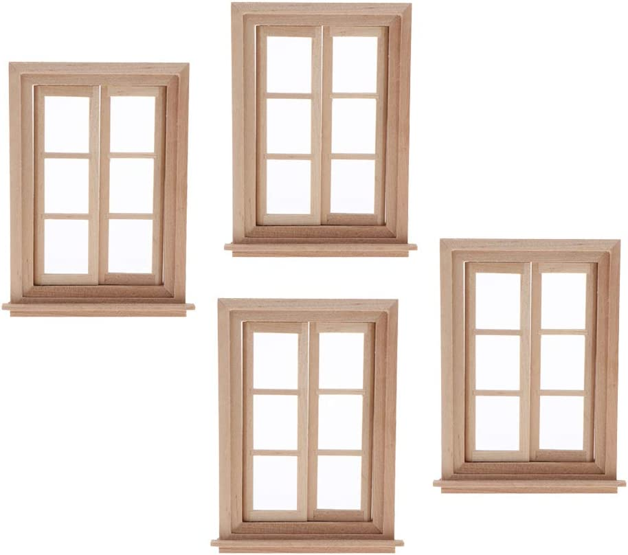 4pcs 1//12 Dollhouse Miniature Unpainted 2-Pane Window Frame DIY Accessories