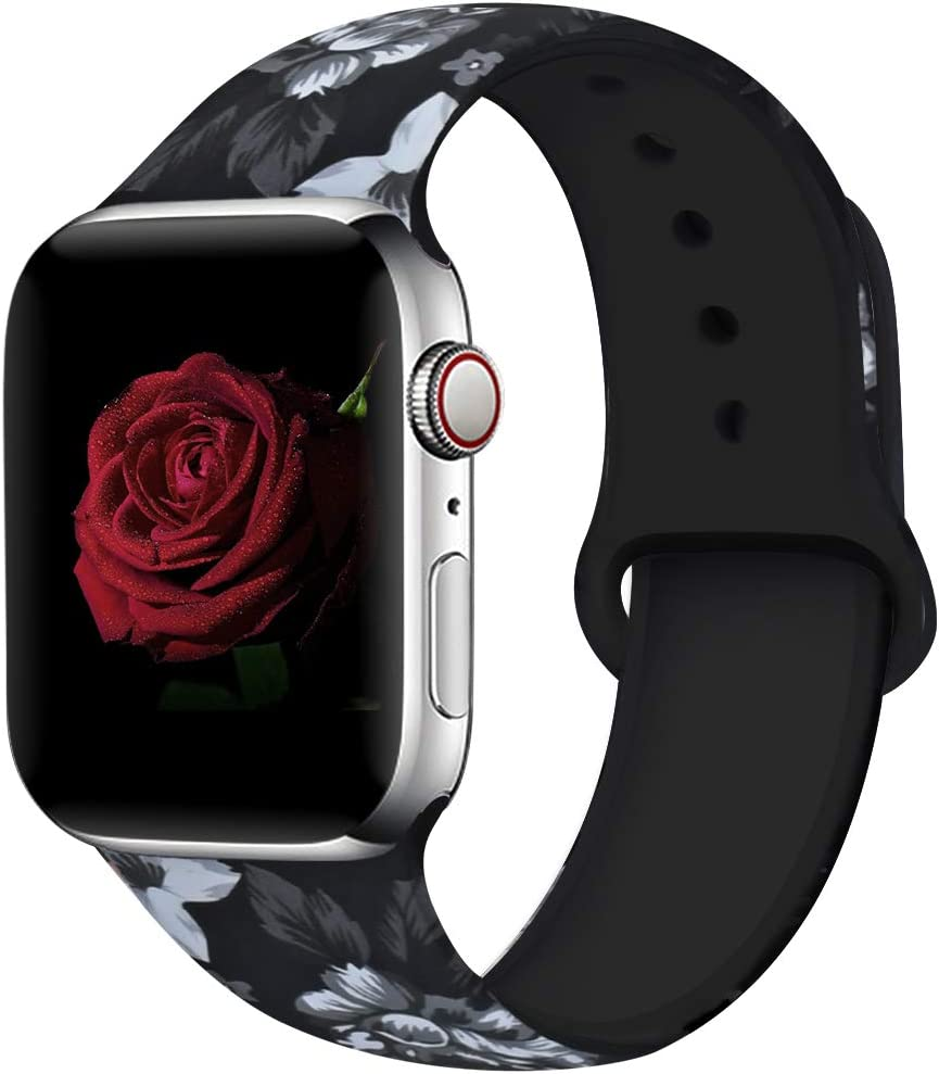EXCHAR Compatible with Apple Watch Band 40mm 38mm Fadeless Pattern Printed Floral Bands Silicone Replacement Band for iWatch Series 4 Series 3/2/1 for Women Men S/M Flower J12