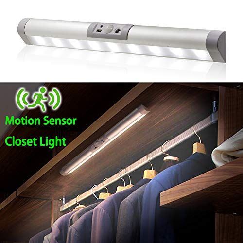 MYPLUS Closet Light Rechargeable Motion Sensor LED with Eye-Protection Design and Wireless, Magnet Install Anywhere Automatic ON/Off, for Wardrobe,Stairs,Cabinet etc