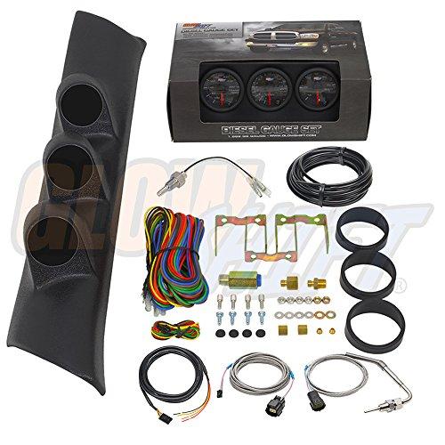GlowShift 1994-1997 Dodge Ram Diesel Gauge Package Black Face Boost, EGT & Trans (Custom Gauge Package)