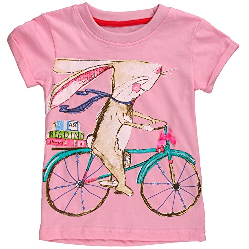 Bunny Girls T-shirt - Girls Kid's Short Sleeve Bunny T-Shirts Cycling Rabbit Striped Tops (Cherry, 3T)
