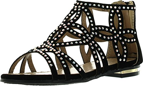 JJF Shoes Girls Kids Cut Out Rhinestone Gladiator Strappy Dress Sandals