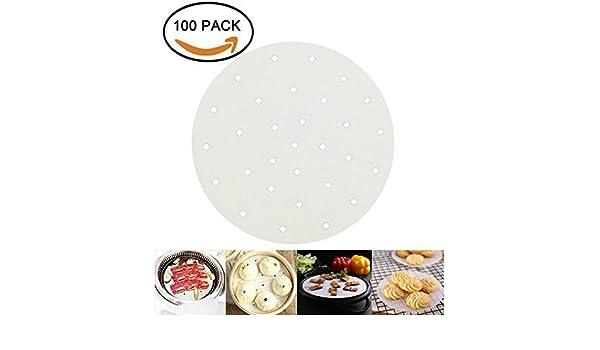 Naomi pergamino papel liners-air fryer-100pcs - 9 Inch round-bamboo Steamer extraer. Ideal para cocinar todos los alimentos verduras arroz Dim Sum: ...