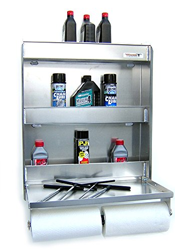 (Pit Posse Senior Storage Cabinet & Work Station Made of Aluminum-Flip Out Work Tray & Spring-Loaded Paper Towel Tensioner - Bike Trailer Shop Garage Accessory - 25
