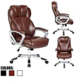 2xhome - Brown - Deluxe Professional PU Leather Tall and Big Ergonomic Office High Back Chair Boss Work Task Computer Executive Comfort Comfortable Padded Loop Arms