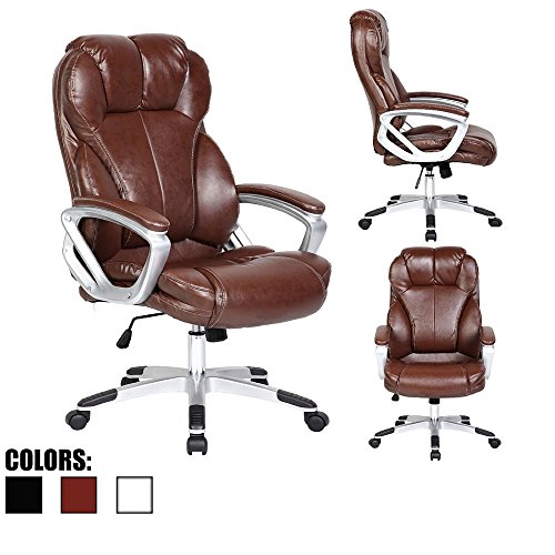 2xhome – Modern High Back Tall Ribbed PU Leather Swivel Tilt Adjustable Chair Designer Boss Executive Management Manager Office Conference Room Work Task Computer Big Tall – Brown