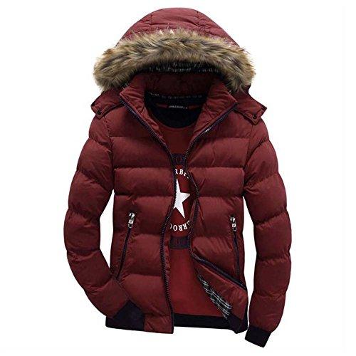 Sciare Pelliccia Hibote Capispalla Parka Outwear Cappuccio Spessore Ragazzi Rosso Caldo Giacche Uomo Cappotti Inverno Moda OrxPqOwz