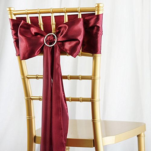 BalsaCircle 50 Burgundy Satin Chair Sashes Bows Ties for Wedding Decorations Party Supplies Events Chair Covers Decor Banquet Reception