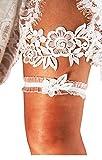 YuRong Bridal Garter Set Beaded Garter Set Wedding Garter Plus Size G28 (Ivory)