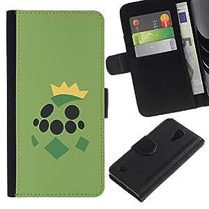 YiPhone /// Tirón de la caja Cartera de cuero con ranuras para tarjetas - Grean Tortuga de Poke Monster - Samsung Galaxy S4 IV I9500