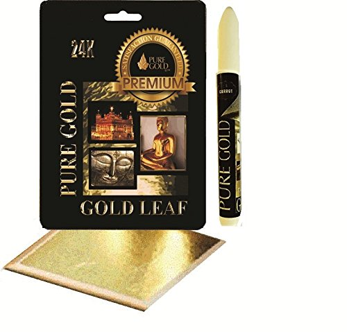 Adhesive size leafing Pen kit with 10 gold Leaf Sheets arts craft lettering pure gold
