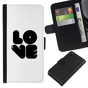 EJOY---La carpeta del tirón la caja de cuero de alta calidad de la PU Caso protector / Sony Xperia Z3 D6603 / --bubblegum blanco blanco texto negro amar