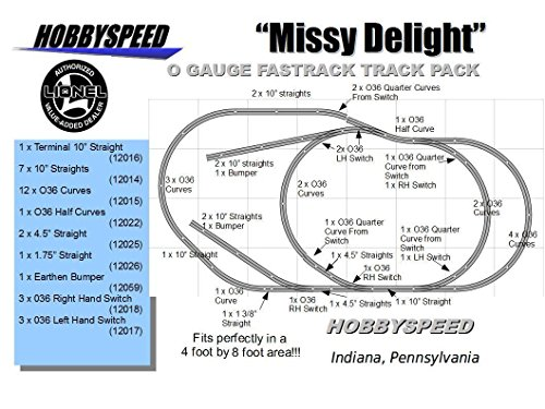 LIONEL FASTRACK MISSY DELIGHT TRACK LAYOUT train 4' X 8' O GAUGE side (Fastrack Terminal)