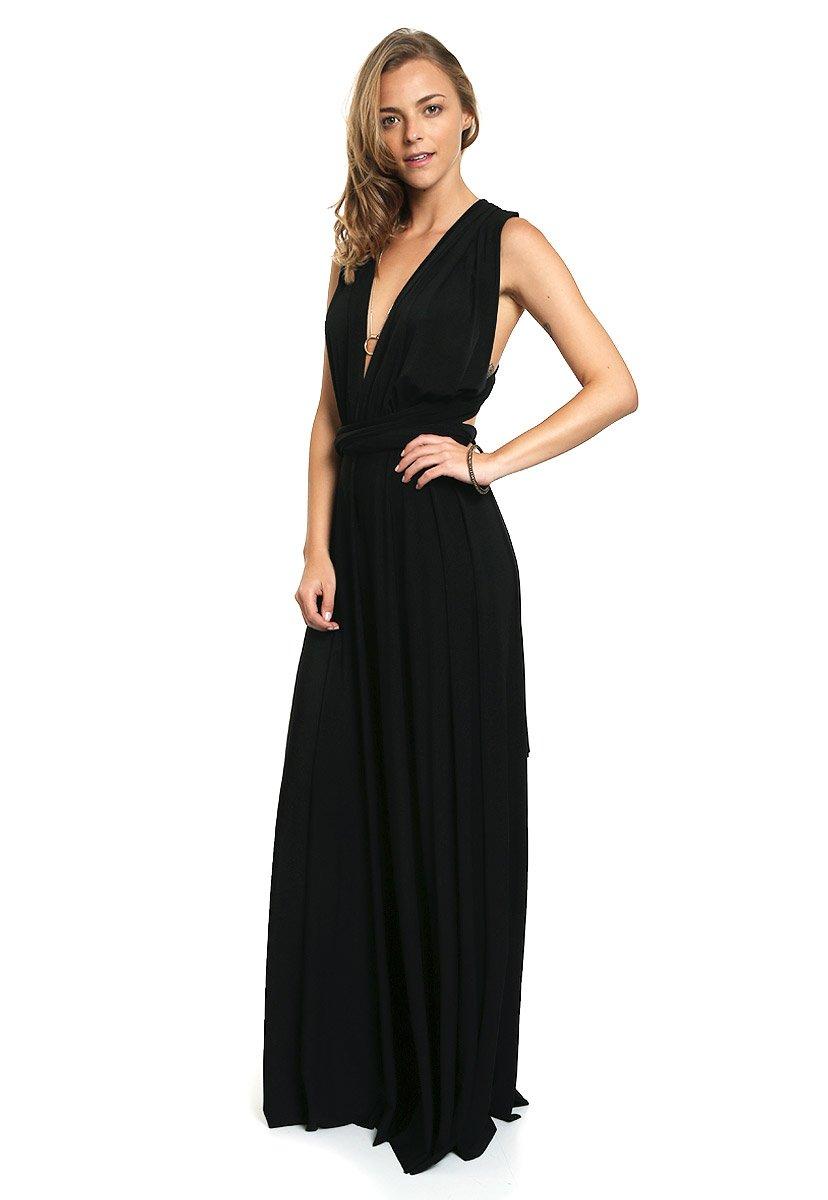 LOB- Maxi Vestido Negro Multifuncional Vestido para Mujer Negro ...