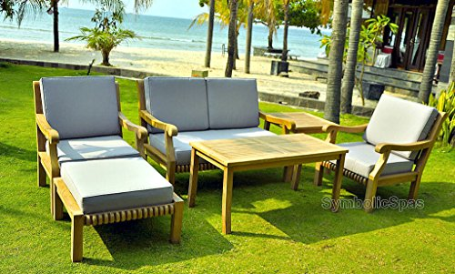 6 Piece Outdoor Grade A Teak Wood Patio Furniture Set 1 Double Seat Sofa 2 Club Chairs 1 Coffe Table 1 Side Table 1 Ottoman Cushions Model SET02/7PC (Teak Wood Sofa Set)