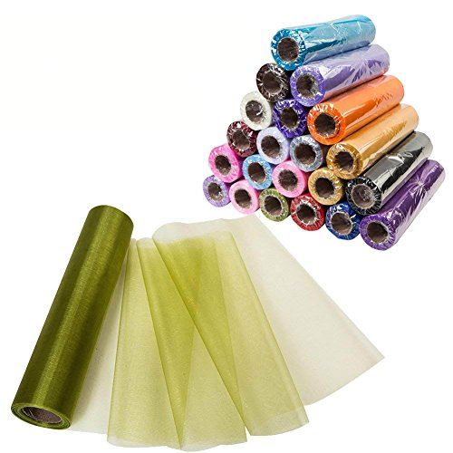 Meijuner 29CM Width X 25M Length Organza Roll Sashes Fabric Table Runner Chair Sashes Bow for Decoration (Grass -