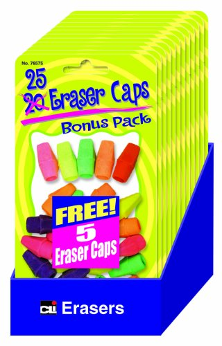 Charles Leonard Pencil Eraser Caps Value Pack, Assorted Colors, 12 Packs of 25 Each and Shelf Tray (76575-ST) Charles Leonard Wedge Shaped Eraser