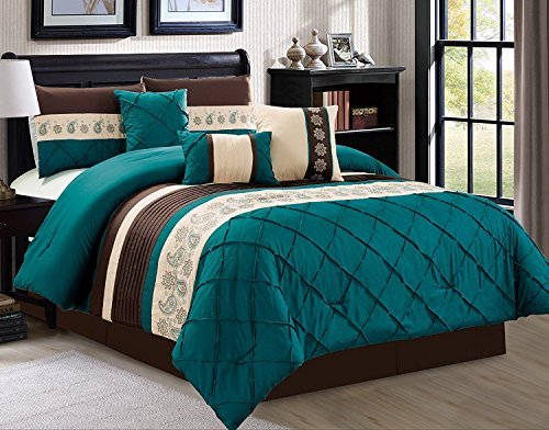 Luxlen 7 Piece Bed in bag Comforter Set, Queen, Green (Set Breakfast Bed In)