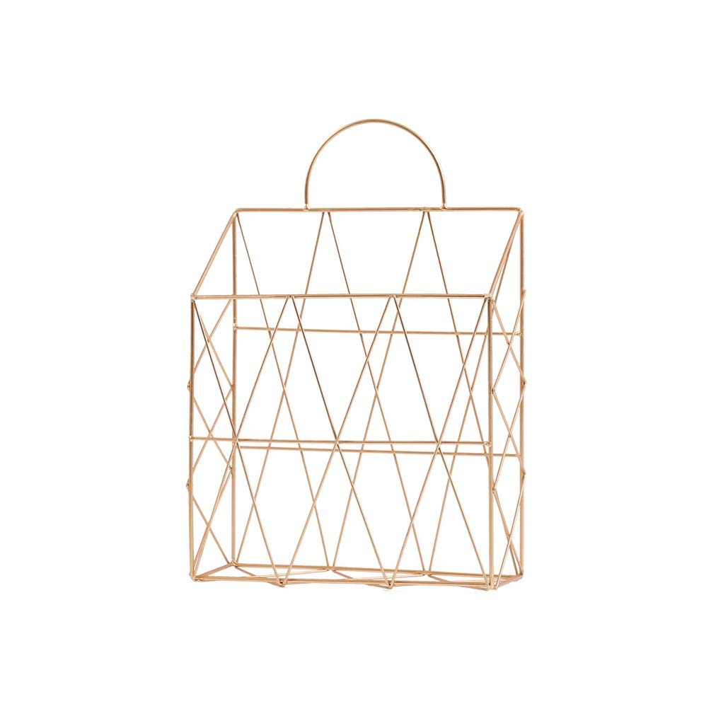 XYQS Nordic Simple Wrought Iron Table Metal Newspaper Newspaper and Debris Decoration Storage Basket Can Hung Portable Blue for Living Room Clothing Store Cafe (Color : Gold)
