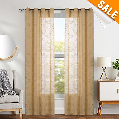 - Sheer Curtains for Living Room Curtains Grommet Top Leaf Embroidered Window Curtains Botanical Semi Sheer Curtains 1 Pair, 55