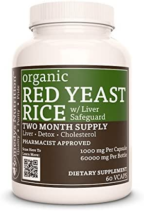 Red Yeast Rice W/Liver Safeguard Remedys Nutrition 1000 mg per Capsule /60.000 mg per Bottle, Mega Strength, Monascus purpureus, Vegan, (Please See Supplement Facts for List of Organic Ingredients)…