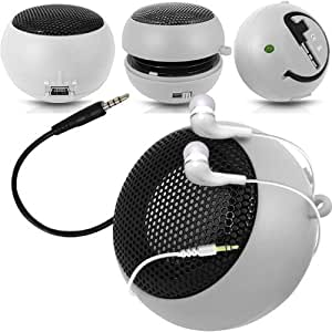 Online-Gadgets UK - Acer Liquid E700 Cápsula Viajes recargable altavoces de graves en voz alta de 3,5 mm Jack Jack de entrada y en la oreja los auriculares - Blanco