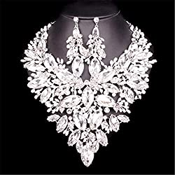 Big Crystal Indian Necklace Earrings Sets