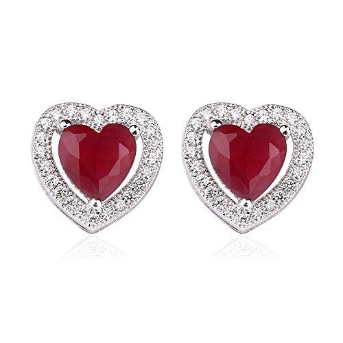 [VWU 18k White Gold Plated Cubic Zirconia Teardrop Pierced Earrings (Heart Red)] (Princess Zelda Costume Cheap)