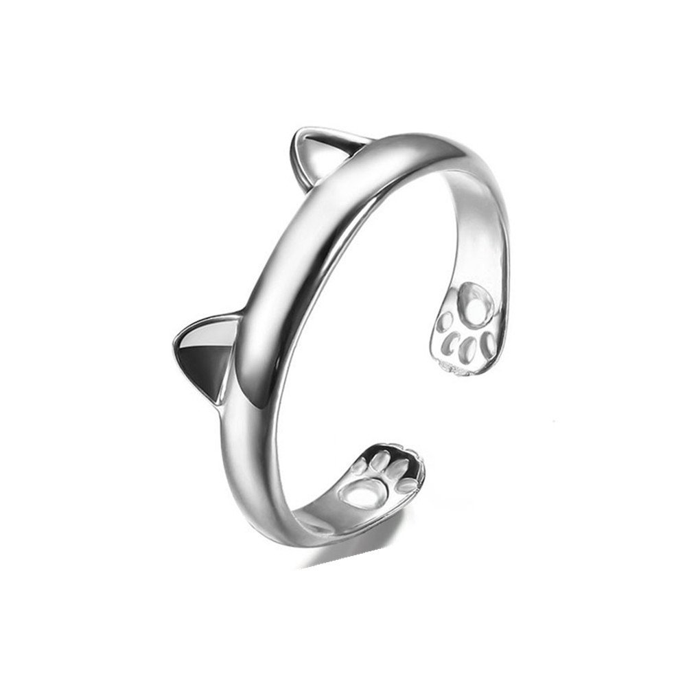 S925 Sterling Silver Plated Vintage Smooth Cat Ear Women Open Band Ring,adjustable XCFS XCFS110