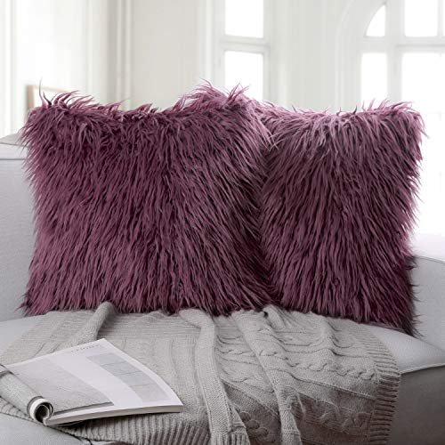 Ashler Pack of 2 Decorative Luxury Style Purple Faux Fur Throw Pillow Case Cushion Cover 18 x 18 Inches 45 x 45 cm -